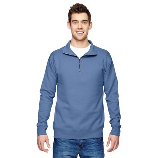 Men's Big and Tall Blue Cotton-blended Fleece Vintage-style Zip-top Sweater