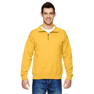 Men's Gold Cotton/Polyester Big and Tall Vintage Quarter-zip Sweater