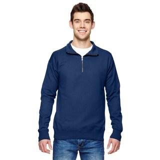 Men's Navy Fleece Big and Tall Quarter-zip Vintage-style Sweater