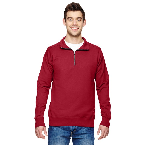 Mens Quarter-Zip Big and Tall Red Vintage Sweater