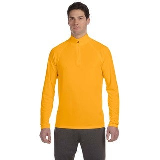 Men's Gold Polyester 1/4-zip Big and Tall Lightweight Pullover Sweater