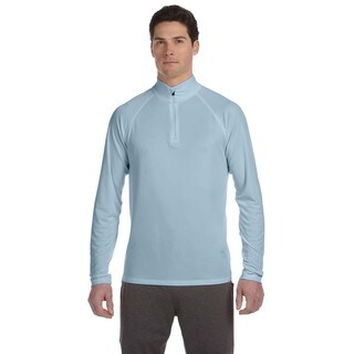 Men's Light Blue Polyester Big and Tall Quarter-zip Lightweight Pullover Sweater