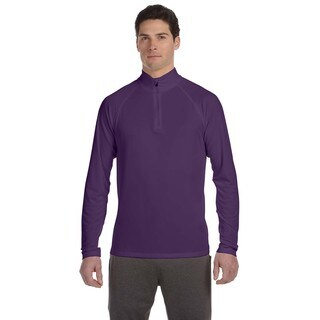 Men's Quarter-Zip Big and Tall Lightweight Pullover Purple Sport Sweater