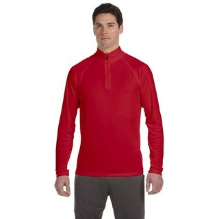 Men's Red Polyester Quarter-zip Big and Tall Lightweight Pullover Sweater