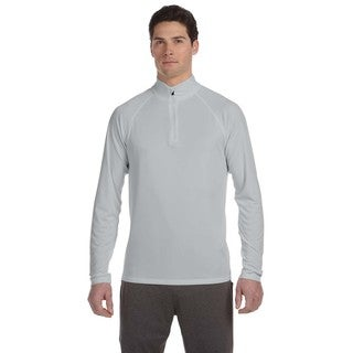 Men's Sport Silver Polyester Quarter-zip Big and Tall Lightweight Pullover Sweater