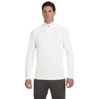 Men's White Polyester Big and Tall Quarter-zip Lightweight Pullover Sweater
