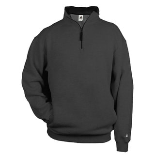 Men's Charcoal Cotton/Polyester Fleece 1/4-zip Big and Tall Pullover Sweater