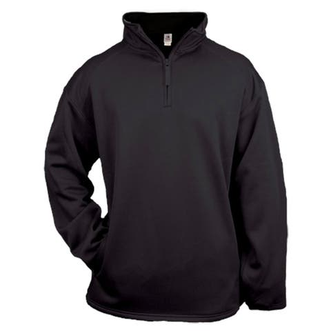 Men's Black Polyester Fleece Big and Tall Quarter-zip Pullover Sweater