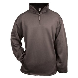 Men's Big and Tall Grey Polyester Pullover Zip-top Sweater