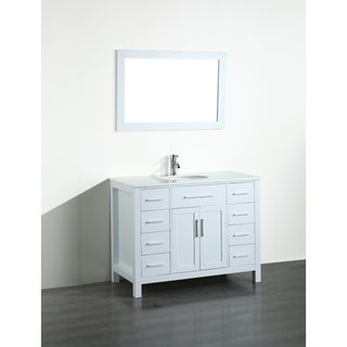 Bosconi SB-252-7WHPS 43-inch Contemporary Single Vanity with Mirror