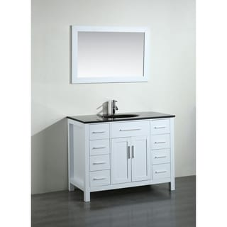 43-inch Bosconi SB-252-7WHBG Contemporary Single Vanity with Mirror