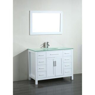 43-inch Bosconi SB-252-7WHCWG Contemporary Single Vanity with Mirror
