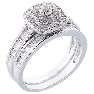Simon Frank 2.91ct TDW Cubic Zirconia 16 Channel-set Baguette Accent Stone Bridal Set