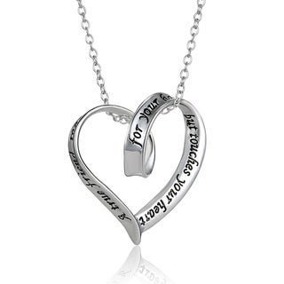 Ribbon Heart ''A True Friend Reaches For Your Hand and Touches Your Heart'' Pendant Necklace