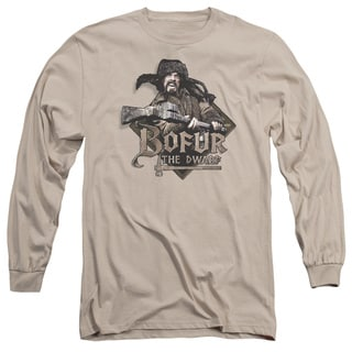 The Hobbit/Bofur Long Sleeve Adult T-Shirt 18/1 in Sand