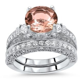 Noori 2 1/2 TGW Round Morganite Diamond 3 Stone Engagement Ring Set 18k White Gold