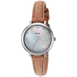 Fossil Women's ES4084 'Jacqueline Mini' Crystal Brown Leather Watch