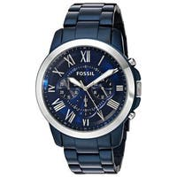 Fossil Men's FS5230 'Grant' Chronograph Automatic Blue Stainless Steel Watch