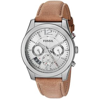 Fossil Women's ES4080 'Perfect Boyfriend' Multi-Function Dual Time Crystal Brown Leather Watch