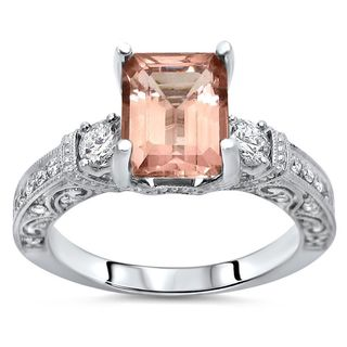 Noori 2 1/2 TGW Emerald Morganite Diamond 3 Stone Engagement Ring 18k White Gold