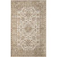 "Momeni Tudor Beige Hand-Tufted Wool Rug - 5' x 7'6"""