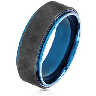 Crucible Men's Blue Plated Stainless Steel Carbon Fiber Comfort Fit Ring - 8mm Wide