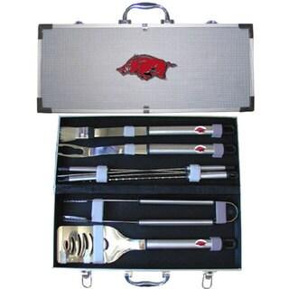 Collegiate Arkansas Razorbacks Stainless Steel 8-piece Barbecue Set With Metal Case