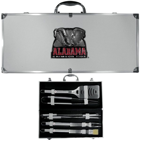 Collegiate Alabama Crimson Tide Stainless Steel 8-piece Barbecue Set With Metal Case
