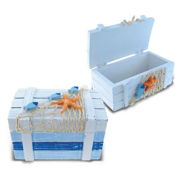 Light Blue Nautical Striped Treasure Boxes (Set of 2)