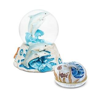 Dolphin Multicolored Resin/Stone/Plastic Jewelry Box and Snow Globe