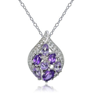 Glitzy Rocks Sterling Silver Amethyst and White Topaz Cluster Tonal Teardrop Necklace