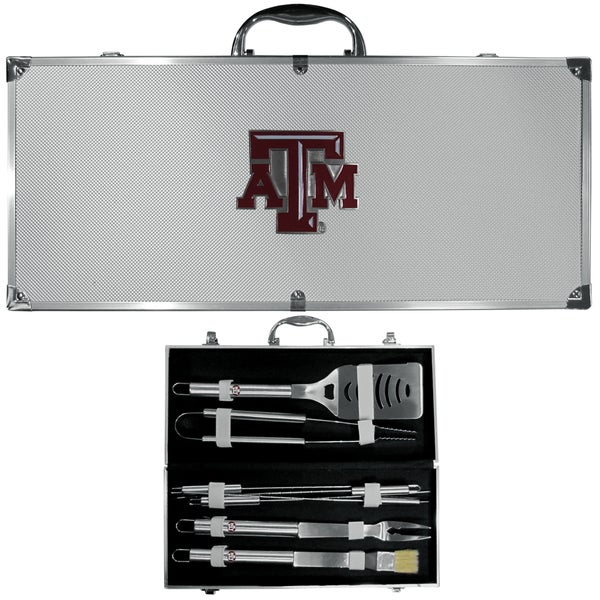 Collegiate Texas A & M Aggies Stainless Steel 8-piece Barbecue Set With Metal Case
