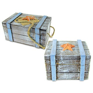 Unique Gift and Souvenir Pacific Jewelry Box Large and Small Nautical Decor (Set of 2)