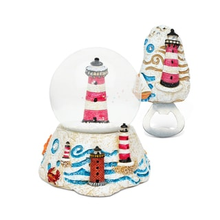 Lighthouse Stone-finished Resin Snow Globe and Magnet Bottle Opener Set