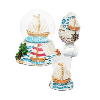 Puzzled Inc. Boat Resin Stone Finish Collection Multicolored Plastic Snow Globe, Magnet Bottle Opener, and Shot Glass Set