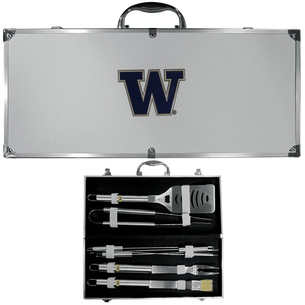 Collegiate Washington Huskies 8-piece Stainless Steel Barbecue Set with Metal Case