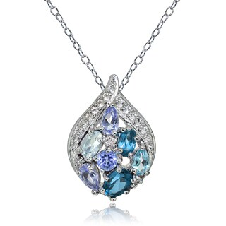 Glitzy Rocks Sterling Silver Tanzanite, Aquamarine, London Blue and White Topaz Cluster Tonal Teardrop Necklace
