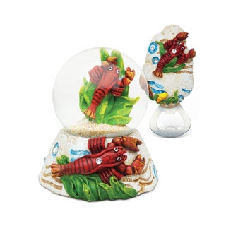 Puzzled Resin Stone Finish Lobster Snow Globe and Magnet Bottle Opener Set