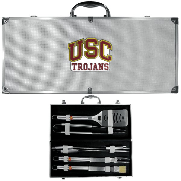 Collegiate USC Trojans Multicolored Stainless Steel 8-piece Barbecue Set w/Metal Case