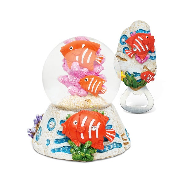 Unique Elegant Gift and Souvenir Fish Resin Stone Finish Collection Snow Globe and Magnet Bottle Opener