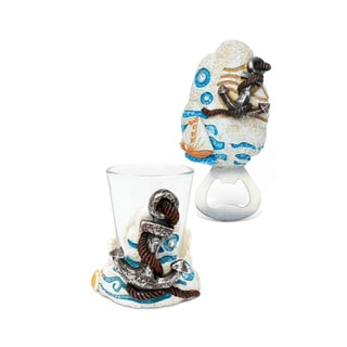 Puzzled Resin Stone Anchor Snow Globe and Magnet Bottle Opener Set