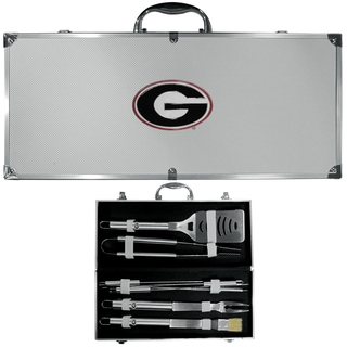 Collegiate Georgia Bulldogs 8-piece Stainless Steel Barbecue Set with Metal Case