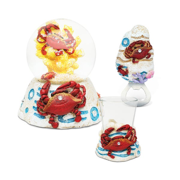 Puzzled Resin Crab Snow Globe, Magnet Bottle Opener, and Shot Glass Collection