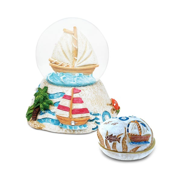 Puzzled Inc. Boat Resin Stone Finish Collection Multicolored Plastic Jewelry Box and Snow Globe
