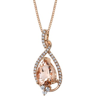 Oravo 14k Rose Gold 2ct TGW Pear-cut Morganite and 1/4ct TDW Diamond Pendant (H-I, SI1-SI2)