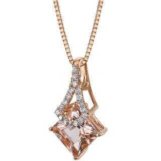 Oravo 14k Rose Gold 1 1/2ct TGW Princess-cut Morganite and Diamond Accent Pendant