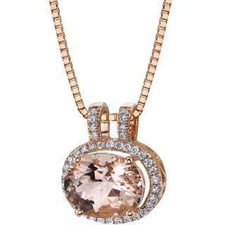 Oravo 14k Rose Gold 2 1/2ct TGW Oval-cut Morganite and 1/5ct TDW Diamond Pendant (H-I, SI1-SI2)