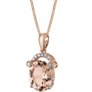 Oravo 14k Rose Gold 2 1/2ct TGW Pear-cut Morganite and Diamond Accent Pendant