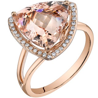 Oravo 14k Rose Gold 5 1/2ct TGW Trillion-cut Morganite and 1/5ct TDW Diamond Ring (H-I, SI1-SI2)