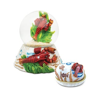 Unique Elegant Gift and Souvenir Lobster Resin Stone Finish Collection Jewelry Box and Snow Globe